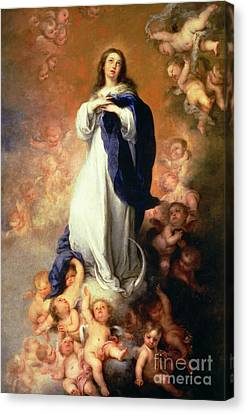 Immaculate Conception Of The Escorial Canvas Print by Esteban Murillo
