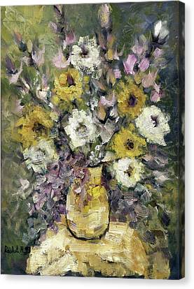 Impression Of Flowers Bouquet Yellow Vase On White Table Purple Flowers Green Background Stained   Canvas Print by Rachel Hershkovitz