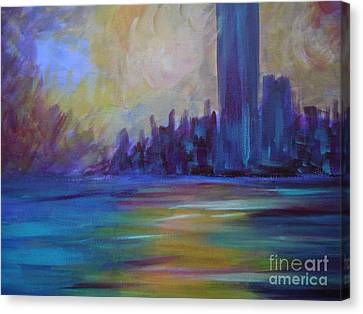 Impressionism-city And Sea Canvas Print by Soho