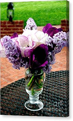 Canvas Print featuring the photograph Impressionist Floral Bouquet by Karen Lee Ensley