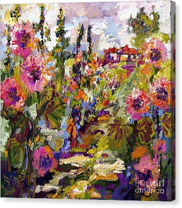 Impressionist Canvas Print - Impressionist Garden Path And Hollyhock by Ginette Callaway