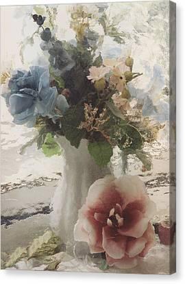 Vintage Floral Impressionistic Blue And Pink Floral Vase  Canvas Print by Kathy Fornal