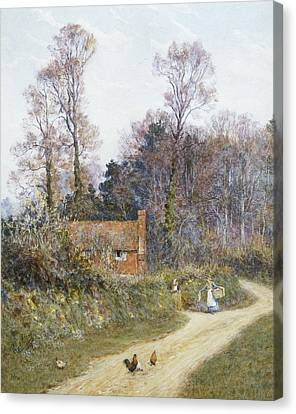 In A Witley Lane Canvas Print by Helen Allingham