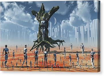 In An Alternate Reality Cyborgs Pay Canvas Print by Mark Stevenson