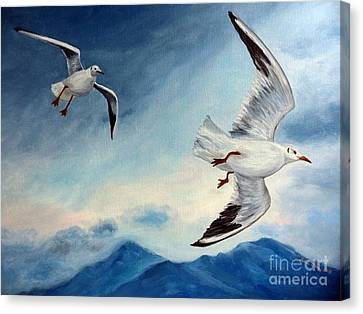 Canvas Print featuring the painting In Flight by Julie Brugh Riffey