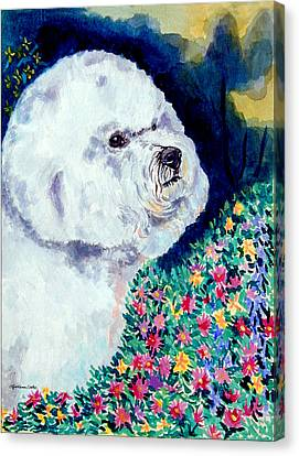 In Mom's Flowers - Bichon Frise Canvas Print