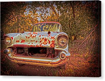 Old Car In The Backwoods Canvas Print by Toni Hopper