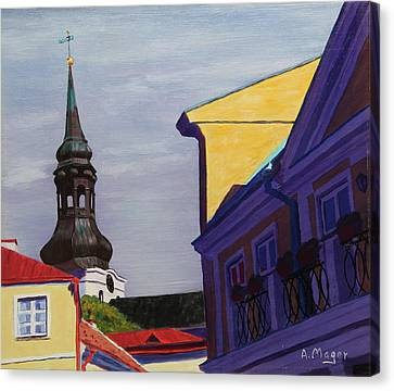 In The Heart Of Tallinn Canvas Print by Alan Mager