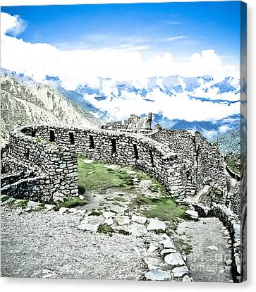 Inca Observatory Ruins Canvas Print by Darcy Michaelchuk