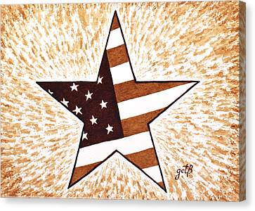 Independence Day Star Usa Flag Coffee Painting Canvas Print by Georgeta  Blanaru