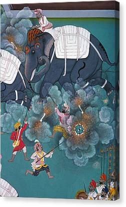 Fine Art India Canvas Print - India: Elephant Fight by Granger