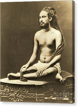 Indian Priest Meditating Canvas Print by Padre Art