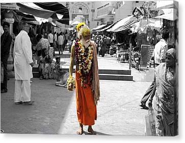 Indian Sadhu At A Religious Spot In India Canvas Print by Sumit Mehndiratta