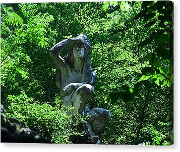 Indian Statue Along The Wissahickon Canvas Print
