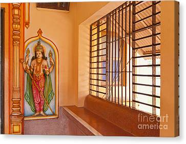 Indian Temple Bench And Artwork Canvas Print by Inti St. Clair