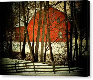 Indiana Barn And Fence Canvas Print by Michael L Kimble
