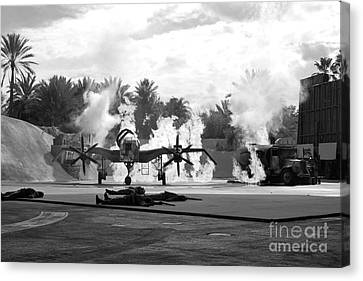 Indiana Jones Epic Stunt Spectacular At Hollywood Studios Walt Disney World Prints Black And White Canvas Print by Shawn O'Brien