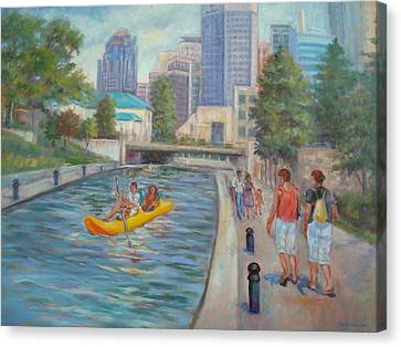Indianapolis Canal Walk Canvas Print by Holly LaDue Ulrich