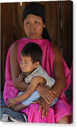 Indigenous Canvas Print - Indigenous Guarani With Your Child. Department Of Santa Cruz. Republic Of Bolivia. by Eric Bauer