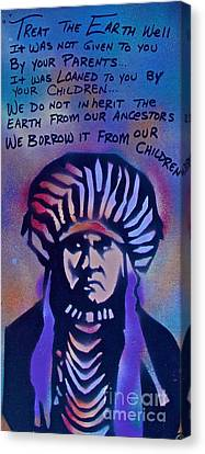 First Amendment Canvas Print - Indigenous Motto...blue by Tony B Conscious