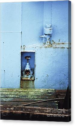 Canvas Print featuring the photograph Industrial Detail In Turquoise Blue by Agnieszka Kubica