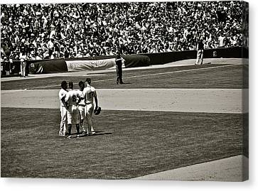 Canvas Print featuring the photograph Infield Meeting by Eric Tressler