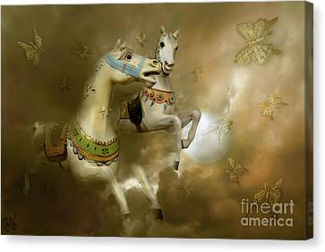Canvas Print featuring the digital art Infinity Horses And  Butterflies by Rosa Cobos
