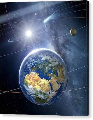 Inner Solar System, Artwork Canvas Print by Detlev Van Ravenswaay