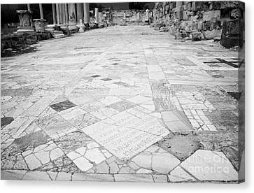 Inscription In The Floor Tile Of The Gymnasium Stoa Ancient Site Of Salamis Famagusta  Canvas Print by Joe Fox