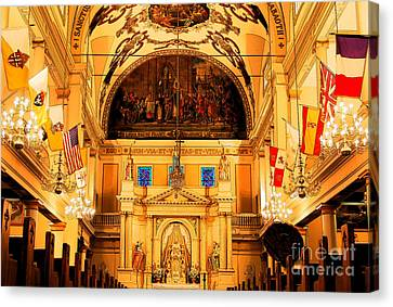 Inside St Louis Cathedral Jackson Square French Quarter New Orleans Ink Outlines Digital Art Canvas Print by Shawn O'Brien