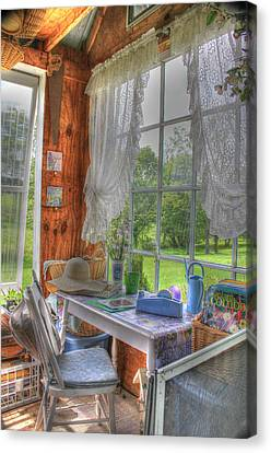 Inside The Cottage Canvas Print by Sharon Batdorf