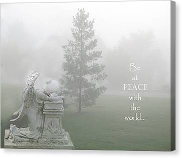 Inspirational Angel Art Ethereal Nature - Peace With The World Quote  Canvas Print by Kathy Fornal