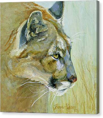 Canvas Print featuring the painting Intense Cougar by Bonnie Rinier