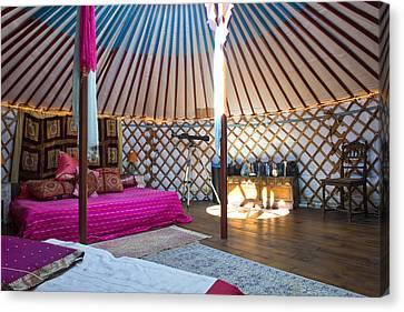 Interior Of A Mongolian Yurt Luxurious Canvas Print