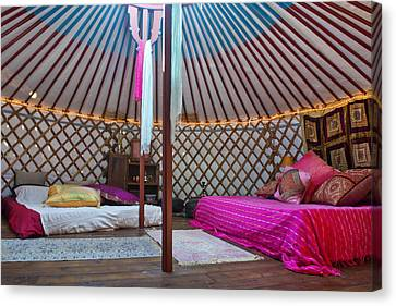 Interior Of A Mongolian Yurt Used Canvas Print