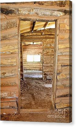 Interior Of A Pioneer Cabin Canvas Print by Bryan Mullennix