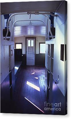Interior Of A Vintage Train Caboose Canvas Print by Janeen Wassink Searles