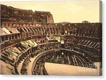 Interior Of The Roman Coliseum Canvas Print