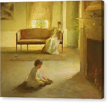Interior With Mother And Child Canvas Print by Edmund Charles Tarbell