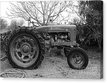 Brentwood Canvas Print - International Harvester Mccormick Farmall Farm Tractor . 7d10320 . Black And White by Wingsdomain Art and Photography