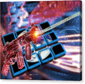 Internet Terrorism Canvas Print by Victor Habbick Visions