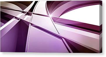Intersecting Three-dimensional Lines In Purple Canvas Print by Ralf Hiemisch