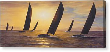 Into The Sunset - Panoramic  Canvas Print by Diane Romanello