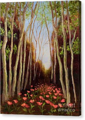 Into The Woods-poppies Canvas Print by Vic  Mastis