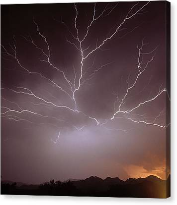 Intra-cloud Lightning At Night, Over Phoenix, Usa Canvas Print by Keith Kent