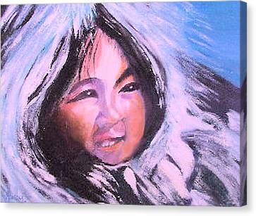 Canvas Print featuring the painting Inupiaq Eskimo Child by Alethea McKee