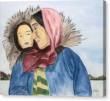 Inupiaq Eskimo Mother And Child Canvas Print by Alethea McKee