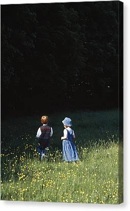 Ireland Children In A Field Canvas Print by The Irish Image Collection
