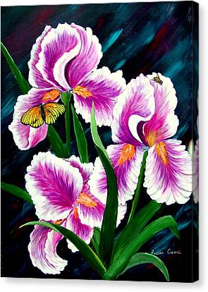 Iris And Insects Canvas Print by Fram Cama