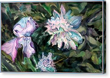 Iris And Peonies Canvas Print by Mindy Newman